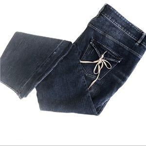 Escada Tie Pocket Jeans In Medium Blue